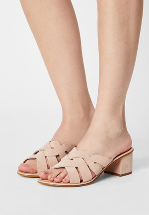LEATHER COMFORT - Heeled mules - light pink