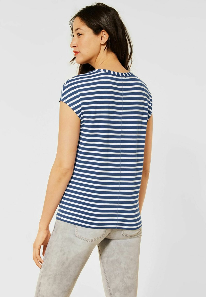 Street One - MIT STREIFEN MUSTER - Print T-shirt - blau