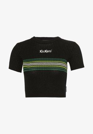 RINGER WITH TONAL CHEST STRIPE AND CENTRAL LOGO - T-shirt z nadrukiem - black/green