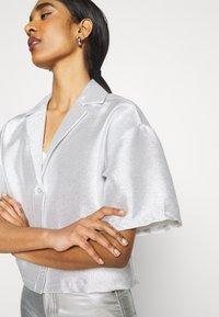 Monki - FANNY BLOUSE - Button-down blouse - silver - 3