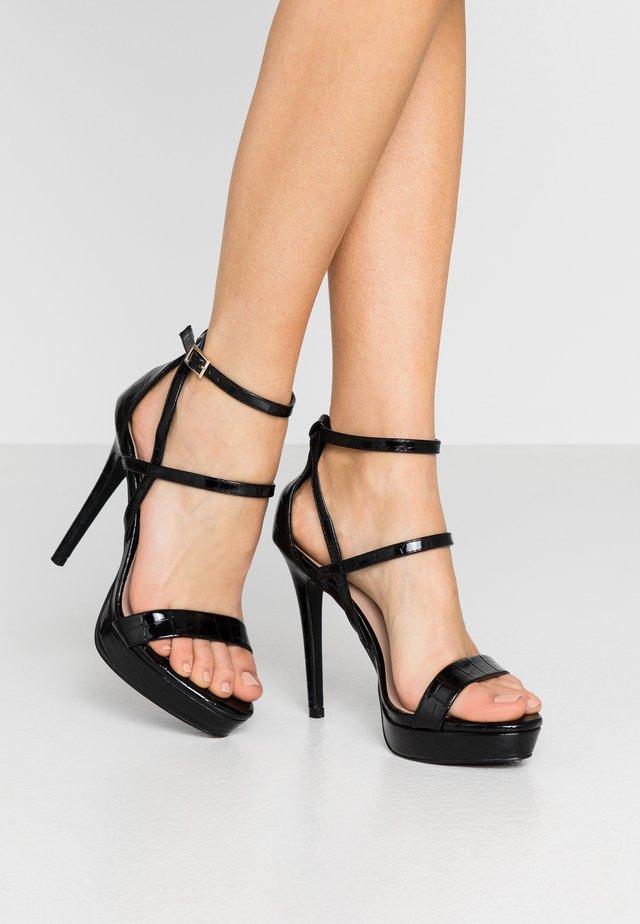 CROC PLATFORM  - High heeled sandals - black