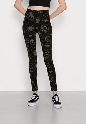 Leggings - black/beige