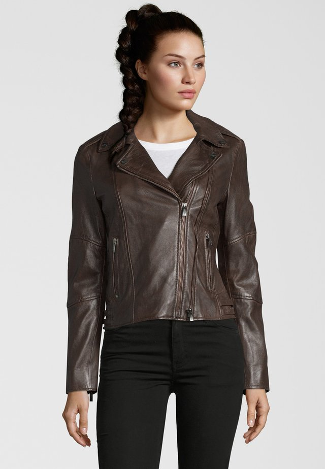CELEBRATION - Leather jacket - d brown