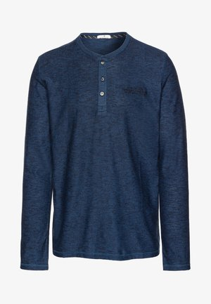 COSY HENLEY WITH EMBROIDERY - Long sleeved top - blue