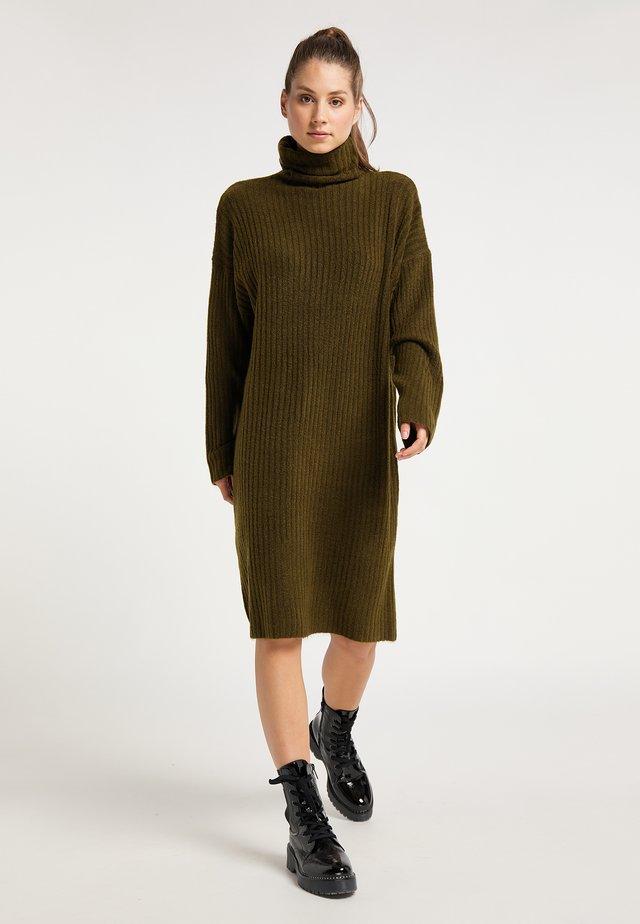 Gebreide jurk - oliv