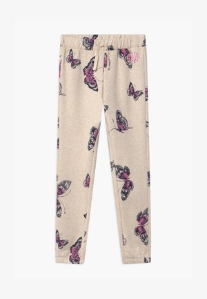 GIRLS LOGO - Tracksuit bottoms - mottled beige