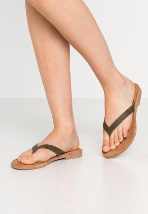 SLIDES - T-bar sandals - olive