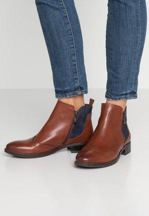 Ankle boots - cognac/ocean