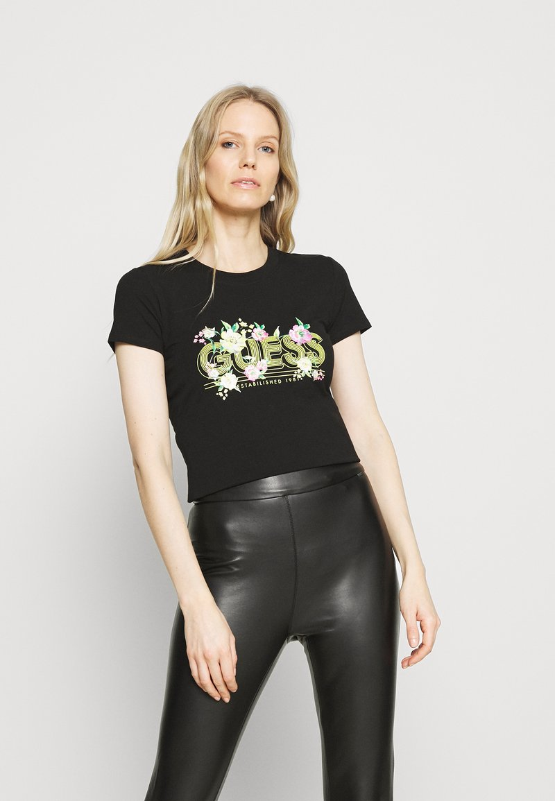 Guess - JANEL TEE - T-shirt con stampa - jet black