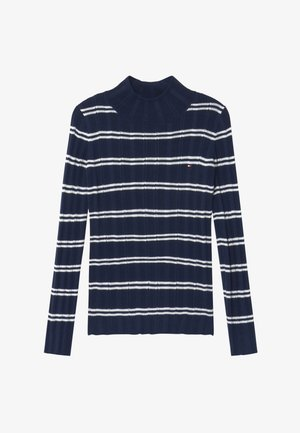 STRIPE TURTLE NECK - Jumper - white/twilight navy