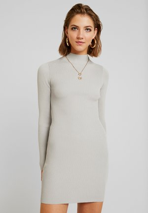 HIGH NECK MINI DRESS - Jumper dress - grey