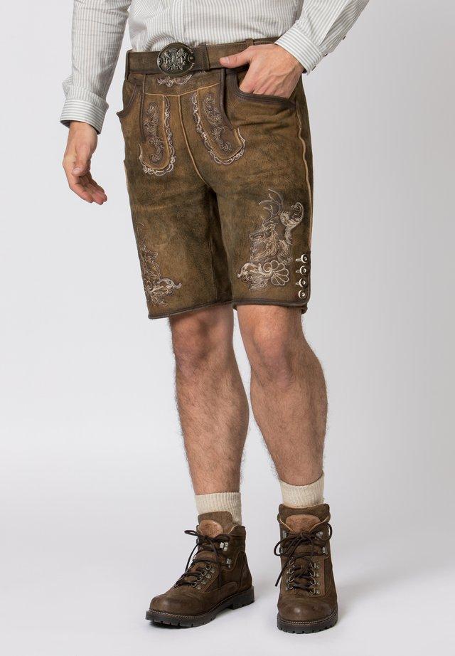 HANS - Leather trousers - havana