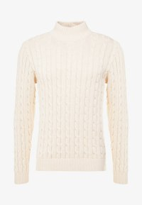 Selected Homme - SLHRYAN STRUCTURE HIGH NECK - Strickpullover - white melange - 4