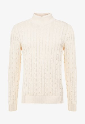 SLHRYAN STRUCTURE HIGH NECK - Pullover - white melange