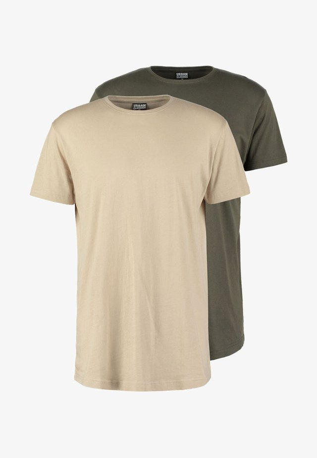 2 PACK - T-shirt - bas - olive/sand