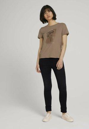 Print T-shirt - french clay beige melange