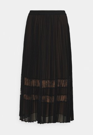 MIDI SKIRT - Plisovaná sukně - black