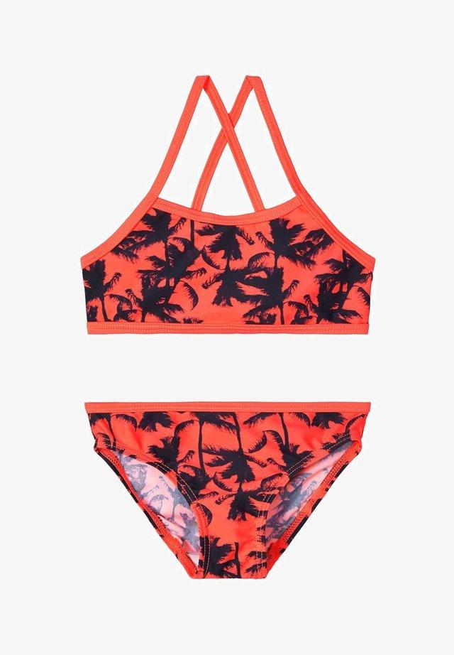 BIKINI GEMUSTERTER - Bikini - fiery coral