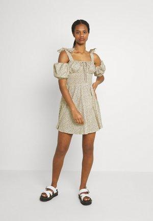 TIE STRAP MILKMAID DRESS - Day dress - lemon