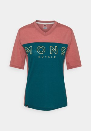 REDWOOD ENDURO - Print T-shirt - deep teal/pink clay