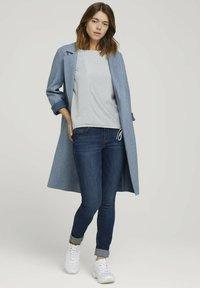 TOM TAILOR DENIM - Long sleeved top - mid blue white stripe - 1