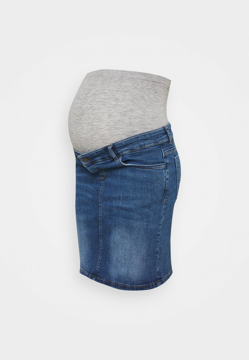 MAMALICIOUS - MLSAVANNA ORGANIC SKIRT - Spódnica mini - light blue denim
