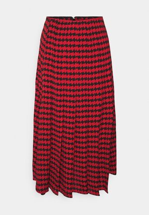 PLEATED SKIRT - Pleated skirt - red/black