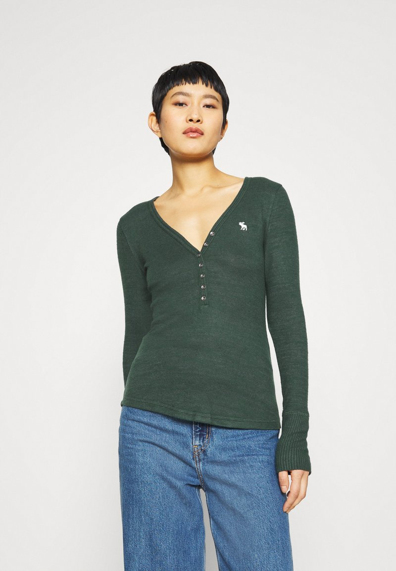 Abercrombie & Fitch - COZY HENLEY  - Long sleeved top - dark green