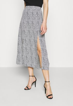 DOUBLE SPLIT MIDI SKIRT - A-linjainen hame - white