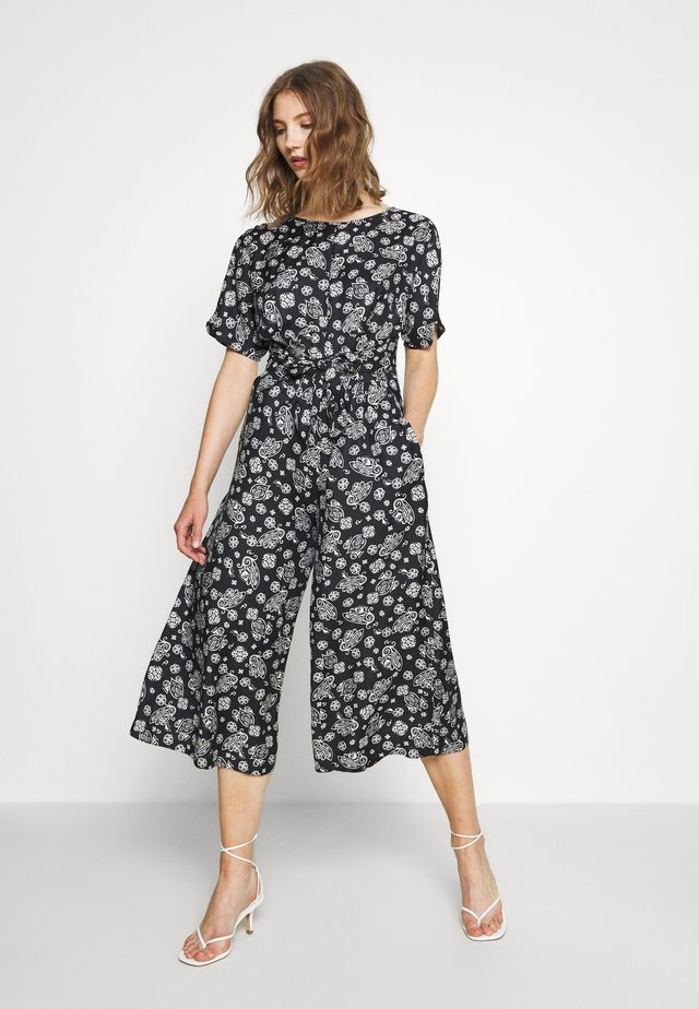 OVERALL FEMININE STYLE NECK WITH V IN BACK PRINTED - Jumpsuit - multi/midnight