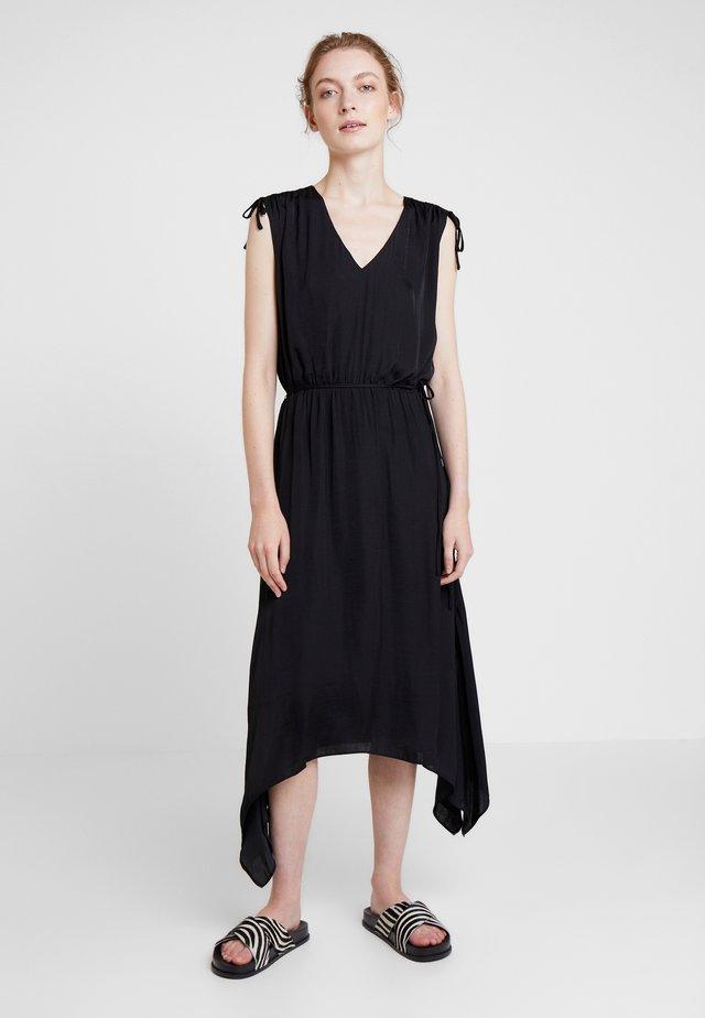 TIE HANDKERCHIEF HEM RUMPLE - Maxi dress - rich black