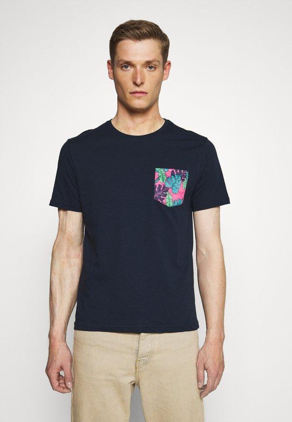 Pier One T-shirt z nadrukiem - dark blue/granatowy Odzież Męska PBRA