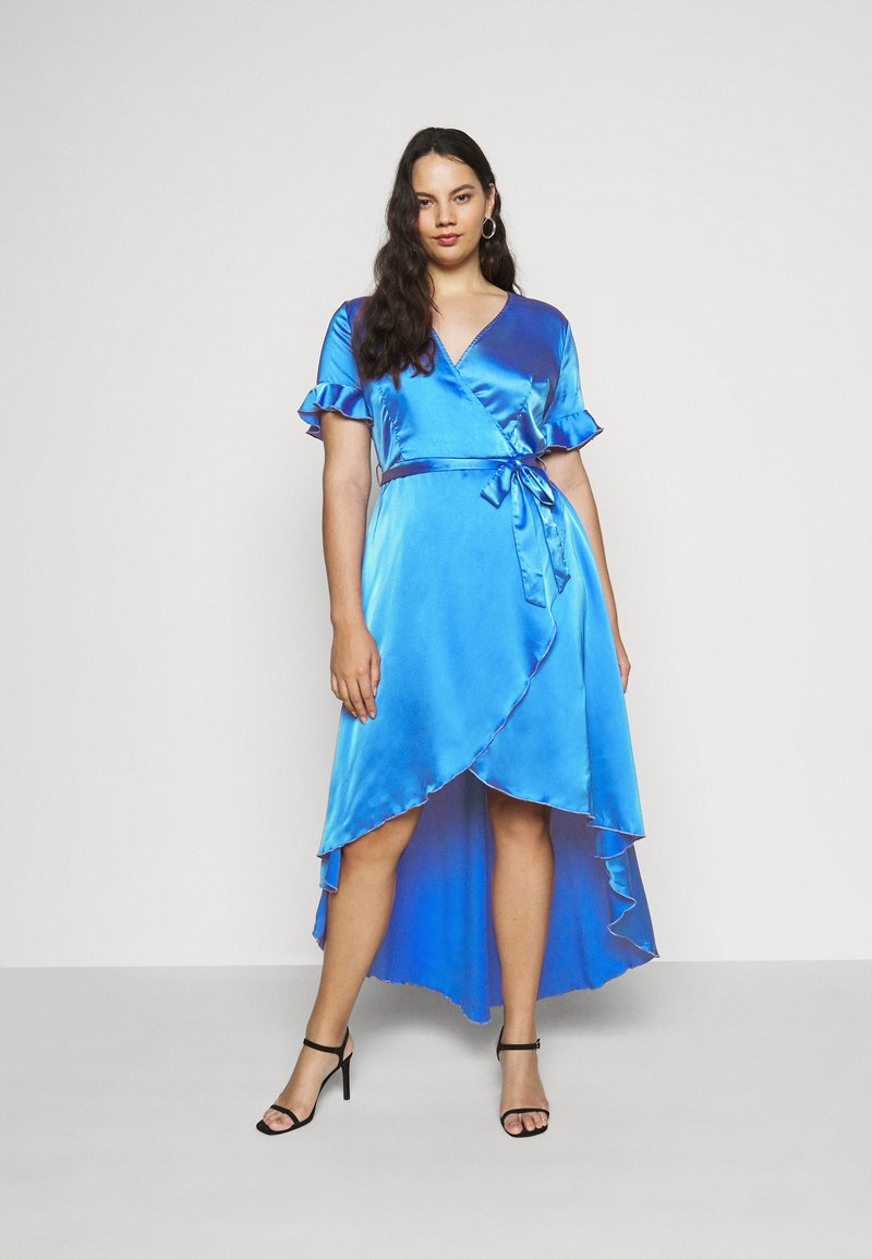Missguided Plus - FLUTTER HIGH LOW MIDI DRESS - Day dress - navy