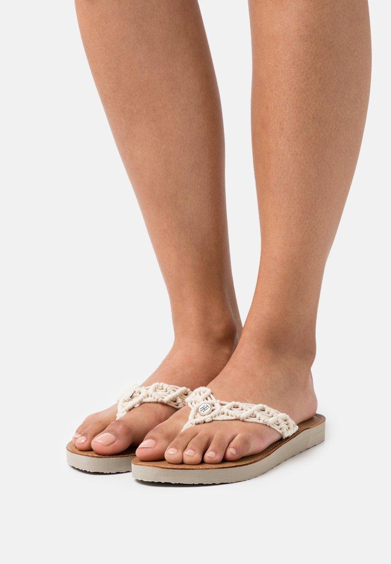 Tommy Hilfiger - FOOTBED  - T-bar sandals - ivory