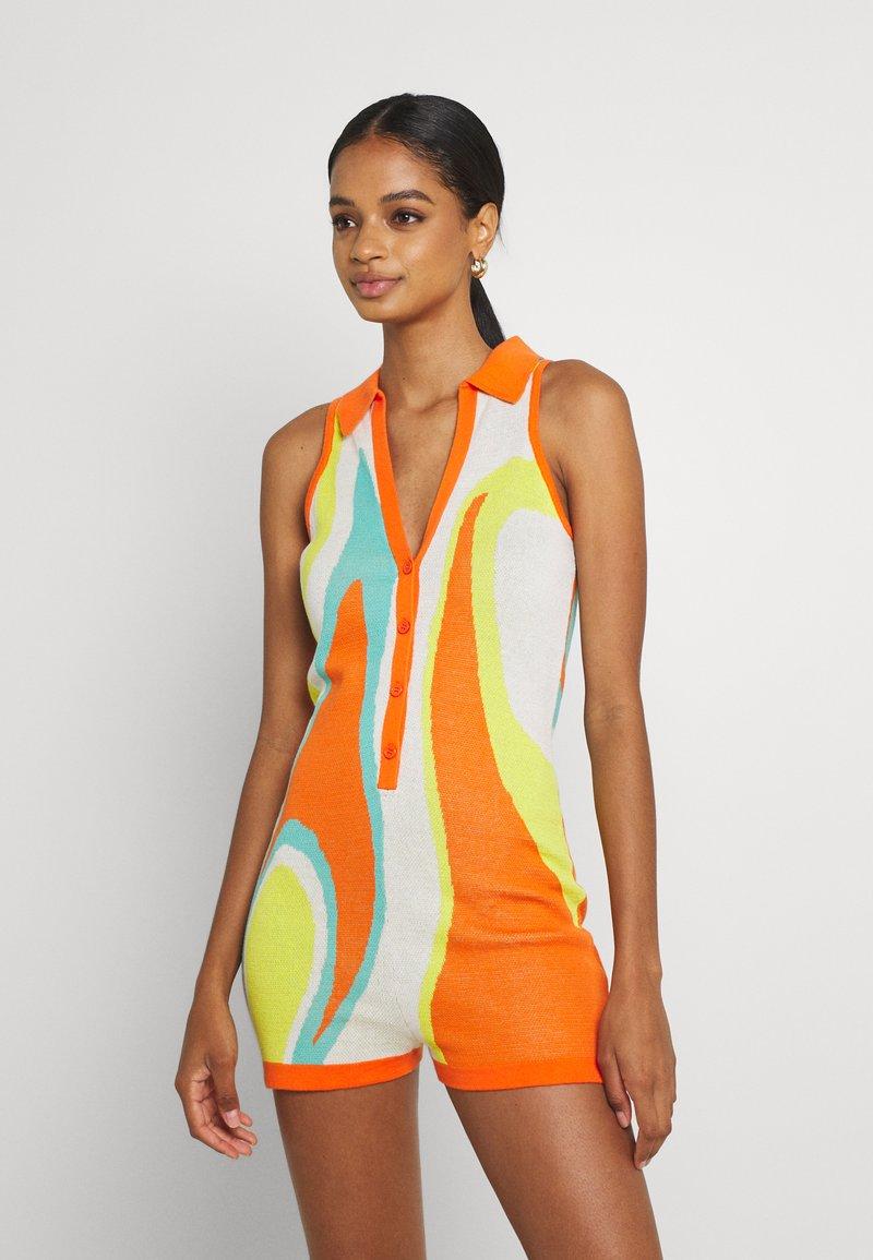 Jaded London - SLEEVELESS INTARSIA ROMPER ABSTRACT ART - Jumpsuit - orange/white/yellow/green