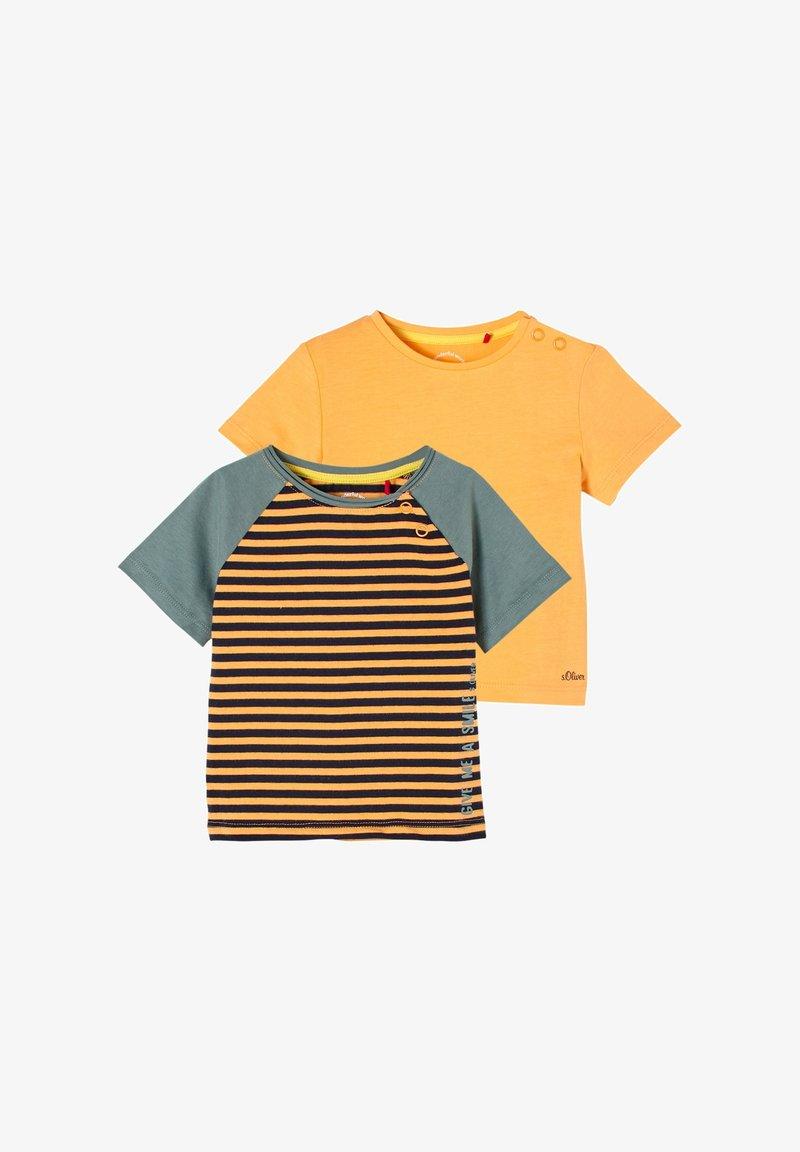 s.Oliver - 2 PACK - Print T-shirt - orange stripes/orange