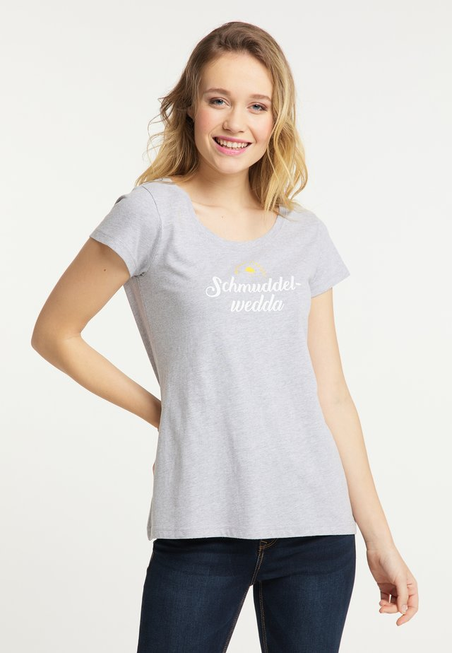 Print T-shirt - light gray melange