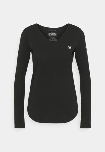 ROLLED EDGE V NECK LONGSLEEVE - Long sleeved top - black