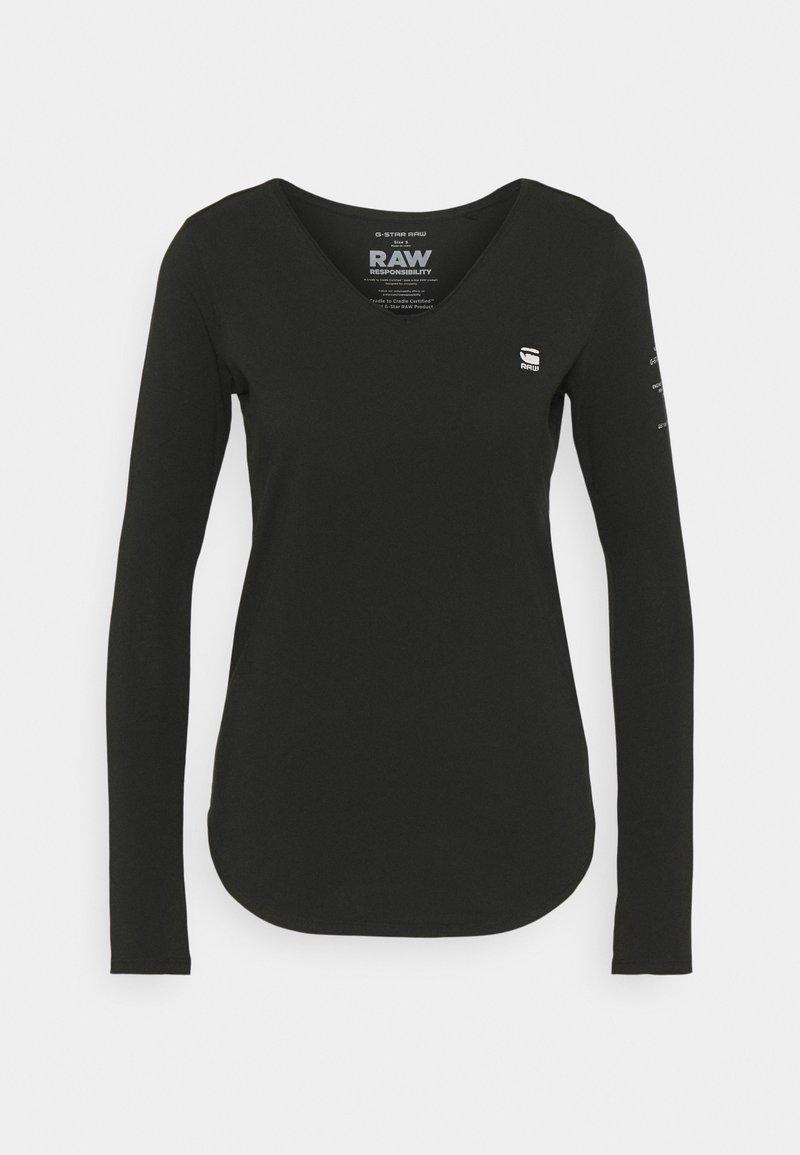 G-Star - ROLLED EDGE V NECK LONGSLEEVE - Long sleeved top - black