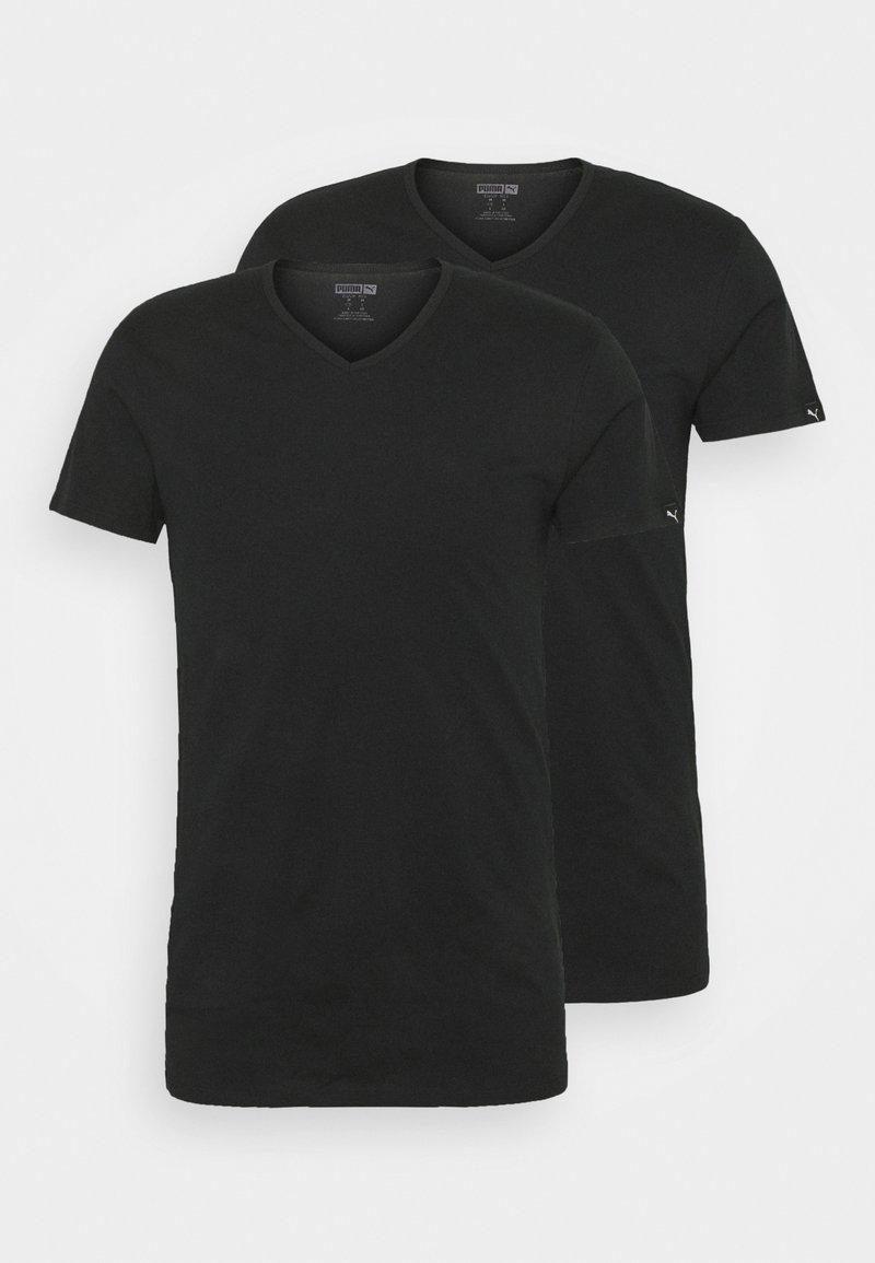 Puma - BASIC  VNECK 2 PACK - Undershirt - black