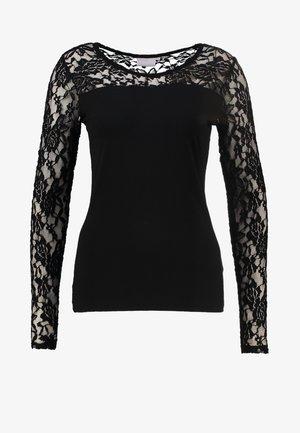 LACY  - Long sleeved top - black deep