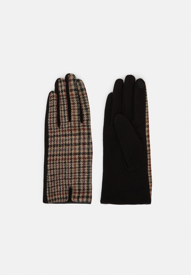 ONLJESSICA CHECK GLOVES - Gants - fired brick/black/brown
