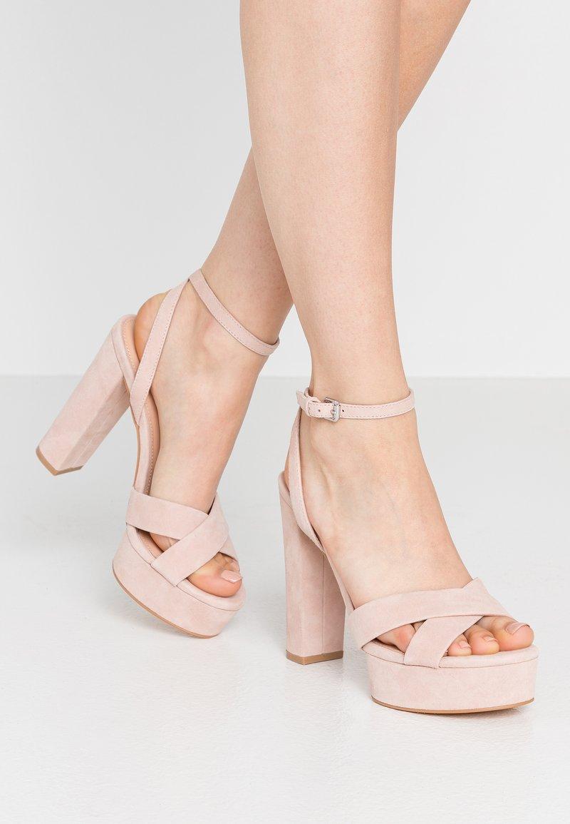 Even&Odd - LEATHER - Sandaler med høye hæler - nude