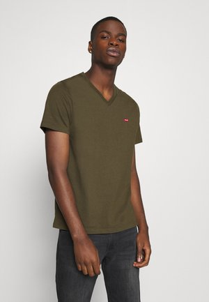 VNECK - T-shirt med print - olive night