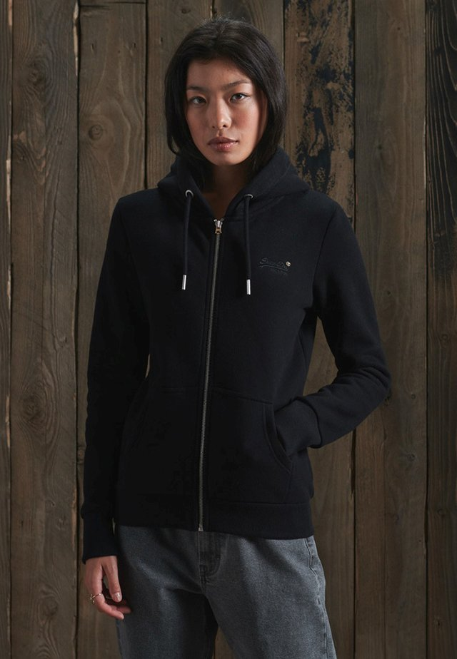 ORANGE LABEL ZIP HOODIE - Bluza rozpinana - black