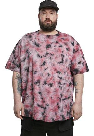 TIE DYE OVERSIZED TEE - Print T-shirt - black/red