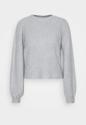 NMLUKE O NECK - Jumper - light grey melange