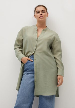 Button-down blouse - mittelbraun