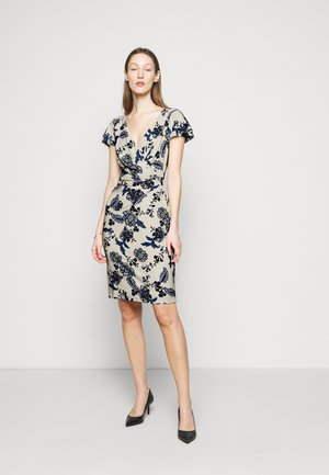 PRINTED MATTE DRESS - Robe fourreau - lemon ivory/blue