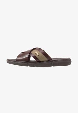 ALEX - Pantofle - mahagony/olive
